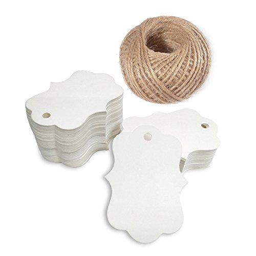 100 Stück 5 CM*3 CM Shabby Chic Braun Baumblatt Form kraftpapier Etiketten Tags Hängeetiketten Anhängeetiketten mit Jute-Schnur 30 Meter (Weiß)
