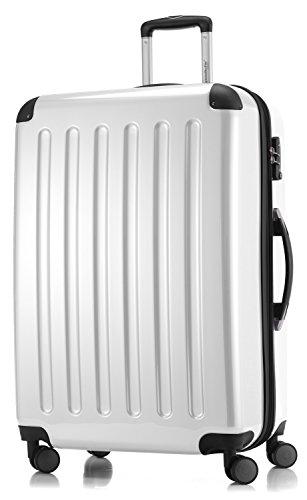 HAUPTSTADTKOFFER - Alex - NEU 4 Doppel-Rollen Großer Hartschalen-Koffer Koffer Trolley Rollkoffer Reisekoffer, TSA, 75 cm, 119 Liter, Weiß