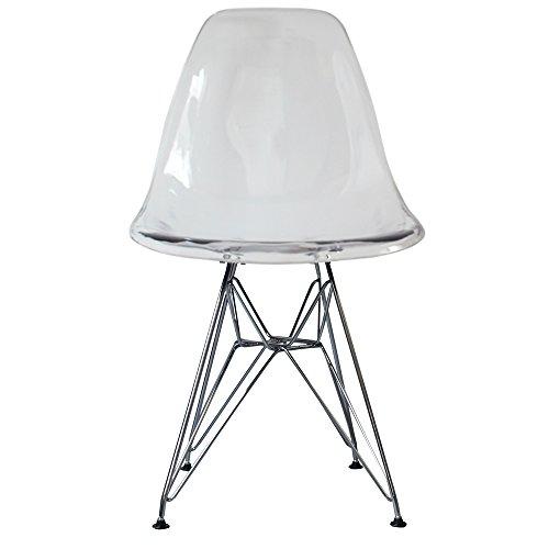 Silla de comedor de plástico con patas inspiradas en Eiffel, estilo escandinavo retro, Patas cromadas, transparente, H: 82cm W: 46cm D: 50cm. Seat Height: 44cm
