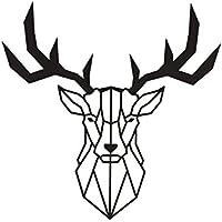 Metal decor-decoro pared diseño geométrico de metal Deer. Negro.