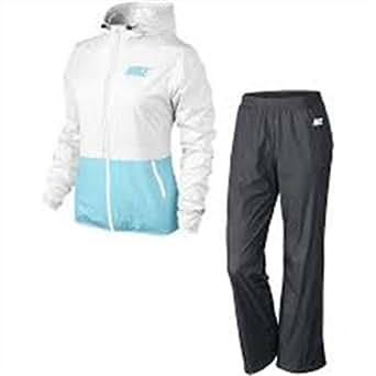 Nike Half Timer Warmup–Survêtement Vetement Active pour Femme, Blanc/Bleu ciel/Anthracite L Blanc / Bleu ciel / Anthracite