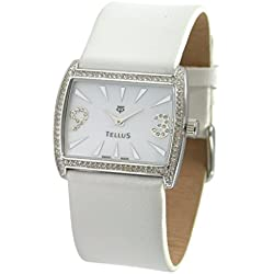Tellus - Vintage - Luxury Women's watch with white dial, white strap in Genuine calf leather, Swiss Made - T5066DI-006