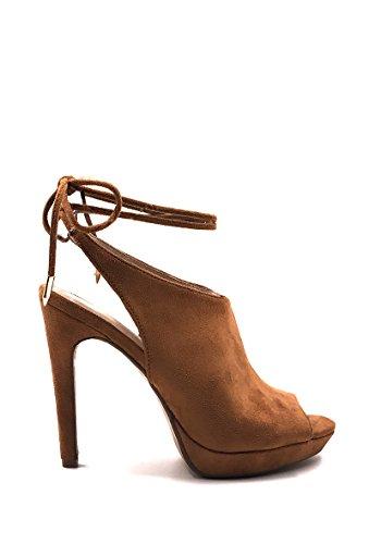 CHIC NANA . Chaussure Femme Mode Escarpins effet daim bout ouvert. Camel