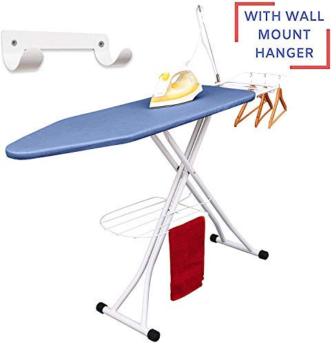 Table à repasser de luxe Xabitat avec rangement mural, plateau de rangement pour vêtements finis, support métallique pour chemises et pantalons suspendus, porte-fer en toute sécurité - Bleu
