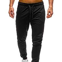 1ad2f3c32167f YanHoo Pantalones de chándal de los Hombres Hombres Color Puro Bolsillo de  Bolsillo Casual Pocket Sport