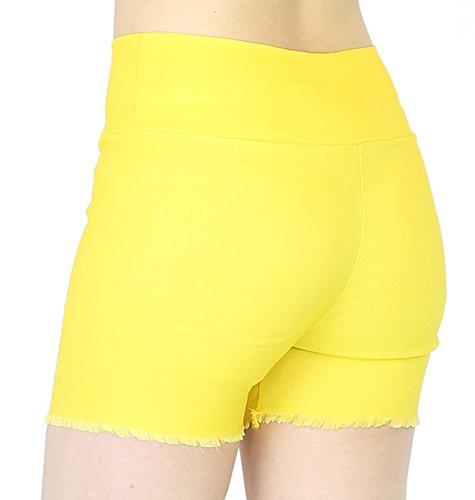 Kurze Hose Damen Bermuda Shorts Hotpants Damen High Waist in Sommerfarben - 2LG001 Gelb