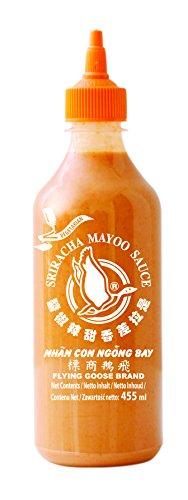 FLYING GOOSE Sriracha Mayoo Sauce - Mayonnaise, leicht scharf, orange Kappe, Würzsauce aus Thailand, 2er Pack (2 x 455 ml) - Sushi Sauce