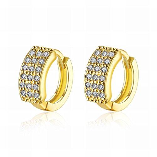 MOMO ein Paar Kleine und Exquisite Mode K Gold Mikro-intarsien Drei-zeilen Ohrringe Ãœberzogen Goldschmuck / Anti-allergie / Zirkonia Gemacht Ohrringe,Als Show Mikro-diamant-ring