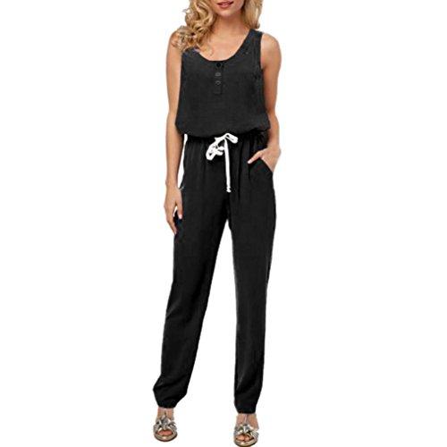 ❤️LuckyGirls Elegant Damen Jumpsuit Chiffon Lang Hosen V-Ausschnitt Kurzarm Frauen Overall Party Abendmode (schwarz1, S) (Chiffon Jumpsuit)