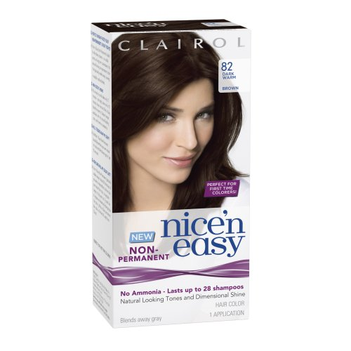 clairol nice n easy non permanent hair color 82 dark warm brown 1 kit - Mousse Colorante Non Permanente