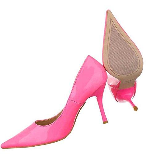 Damen Pumps Schuhe High Heels Stiletto Schwarz Pink