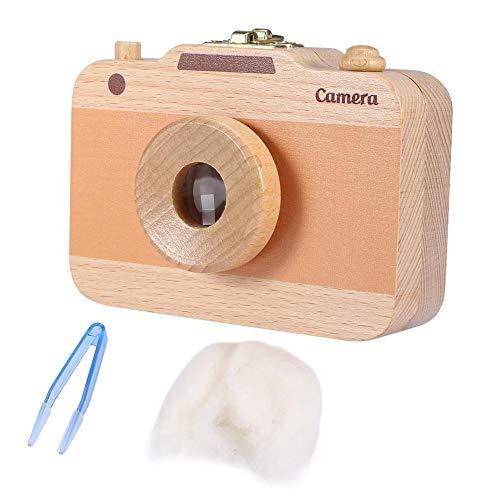 Aufbewahrungsbox aus Holz, niedlicher Aufbewahrungsbehälter mit Kamera-Muster für Milchzähne und Babyhaar(Braun)