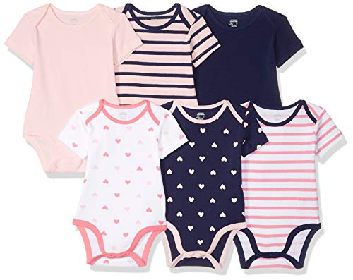 2789a8e43491b Amazon Essentials 6-Pack Short-Sleeve Bodysuit  infant-and-toddler-layette-sets, Girl Heart Stripe, Recién nacido