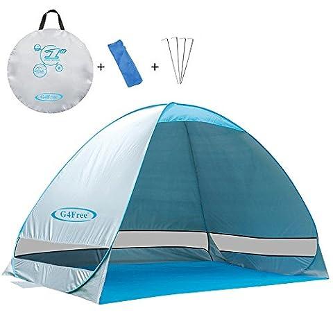 G4Free exterieure automatique Pop up instantanee Portable Tente Cabana Beach 2-3 Personne Camping Peche Randonnee Pique-nique Plage Shelter avec protection UV (50+