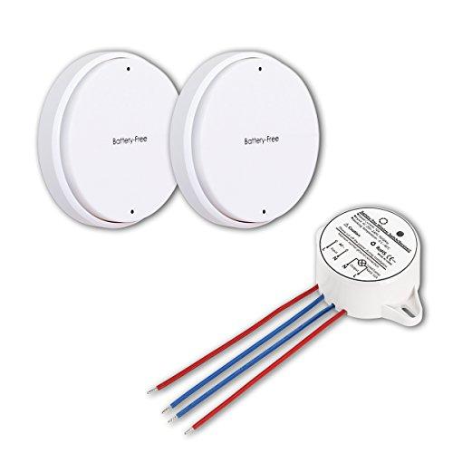 TurnRaise Interruptor de Luces Inalámbricas Kit - Autoalimentado Batería Transmisor Libre con Mando a Distancia Receptor Casa Iluminación y Electrodomésticos (2*Interruptor, 1*Receptor Incluido)