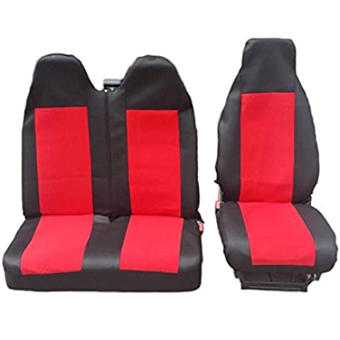 2+ 1Talla 2Negro para asiento rojo Colchón de asiento fundas de asiento, fundas para Volkswagen Transporter V Front