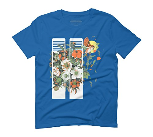 Floral Flight Men's Graphic T-Shirt - Design By Humans Royal Blue