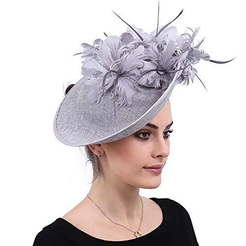üte, Fascinators Feather Flower Haarspangen Cocktail Headwear, Tea Party Hat für Church Ball Hochzeit ()
