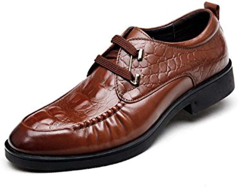 NIUMJ Hombres Zapatos Casuales Negocios Casual Zapatos De Cuero Otoño E Invierno Versión Coreana Tendencia De... -