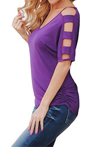 Nicetage Damen Beiläufige Schulterfrei T-Shirt Locker Stretch Shirt Tops Kalt Schulter Bluse Oberteil 02Lila