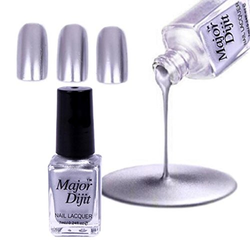 LCLrute Spiegel Nagellack Beschichtung Silber Paste Metall Farbe Edelstahl Spiegel Silber Nagellack für Nail art (Silber)