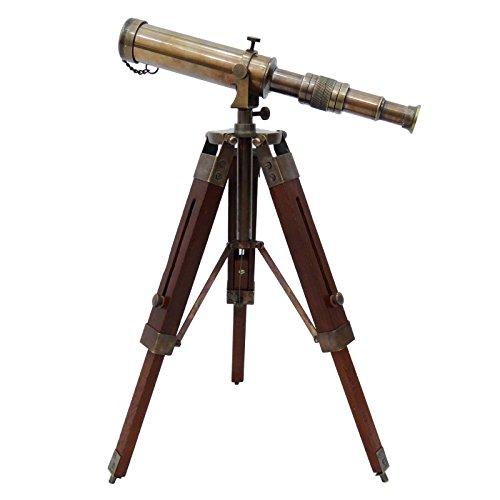 Telescopio latón macizo pirata catalejo madera decorativo