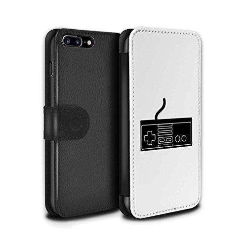 Stuff4 Coque/Etui/Housse Cuir PU Case/Cover pour Apple iPhone 8 Plus / Xbox 360 Noir Design / Manette Jeux Vidéo Collection NES Noir