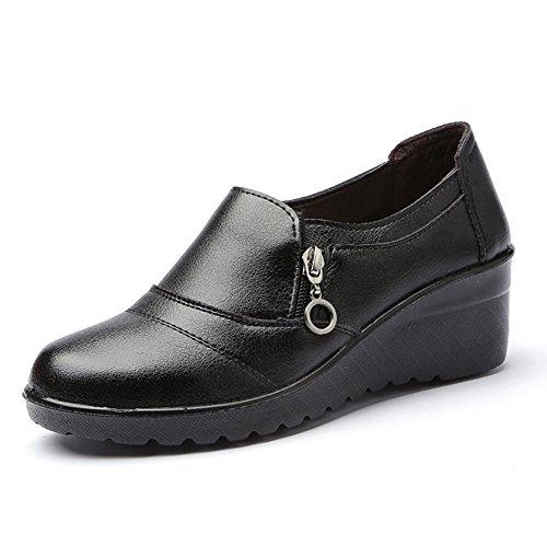 Damen Sparziergang Schuhe Anti-Rutsch Weich Sohle Keilabsatz Reißverschluss Rund Zehen Low-Top Schuhe Schwarz