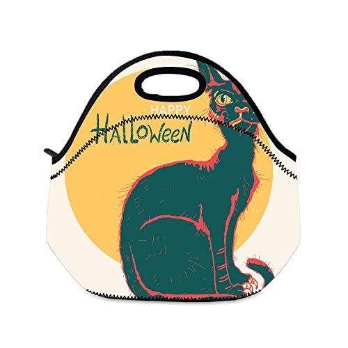 Picknicktasche Lunchbox für Mädchen, schwarze Katze und große Monde, Farbe Halloween, für Camping, Reisen