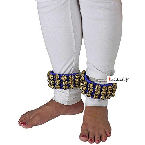Prisha India Craft š Ghungroo Kathak (16 n. Ghungroo) (3) Linea di tre grandi campane di ballo Ghungroo coppia fatti a mano classica indiana danza Bharatnatyam accessori, Kuchipudi, Odissi Ghungru Pad