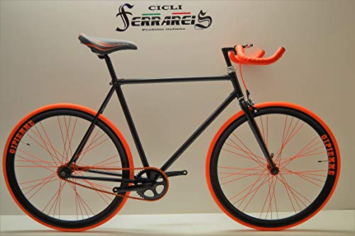 Fixed 28 Nero Arancio Fixie Scatto Fisso Single Speed contropedale Personalizzabile