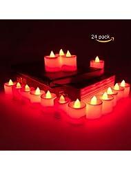 Lot de 24sans flamme Bougie LED Light, Techken vacillante sans flamme lumière brillante à thé Plastique Bougies alimentation par batterie
