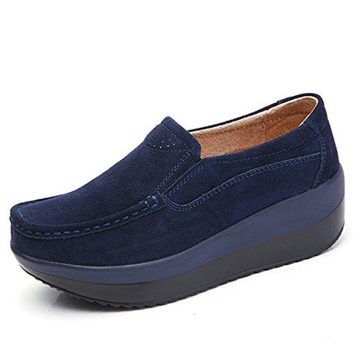 Gracosy mocassini comodo donna in pelle con zeppa con zeppa piattaforma nascosto tacco cuneo scamosciato casual sneaker scarpe moda comode loafers scarpe da guida