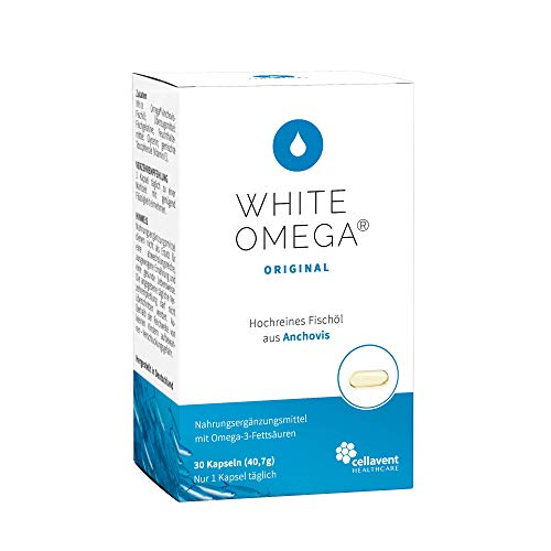 Omega 3 Kapseln (Monatspackung) 1000mg Fischöl davon 774mg Omega-3-Fettsäuren pro Kapsel - DHA (340mg) und EPA (340mg) - zertifizierte Reinheit und Qualität - 30 Kapseln White Omega Original - Perlen 30 Kapseln