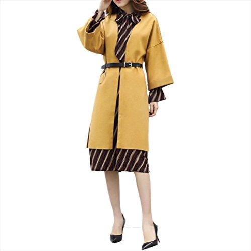 Robe à manches longues mousseline 1 pièce jupe manches longues - Jaune xl
