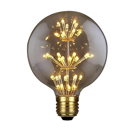 MING Deko Vintage-Edison Glühbirne klar Glas Golden Lampe Halter 3W E27Für Weihnachten Club Bar Home Dekoration, Type B, e27, 3.0 (Ziel Weihnachten Kommerzielle)