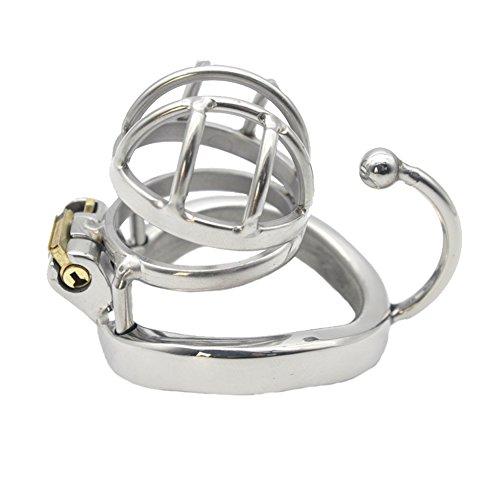 Loveusexy Edelstahl männlich kurz Keuschheit Käfig mit Basis Arc Penis Ring Geräte Käfig Länge 30mm Z1P-30 (40mm Ring) (Kurze Basis)