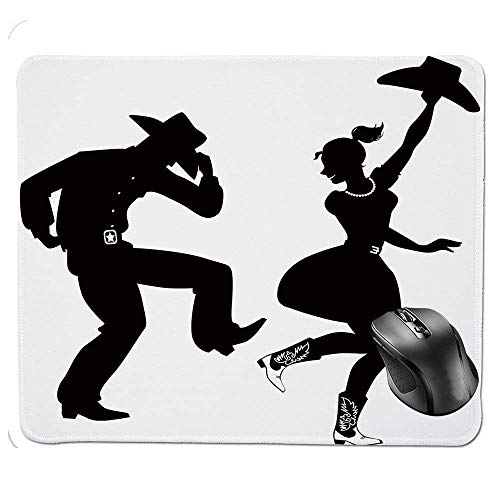 Western Silhouette (J5E7JYTE Ergonomic Mouse pad,Black Silhouette of Couple Dressed in Traditional Western Style Clothes Dancing Decorative Mouse Pad)