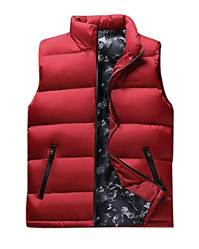 LaoZanA Herren Daunenweste Übergangsweste Warme Mantel Ärmellose Daunenjacke Steppweste Winterjacke Rot 4XL