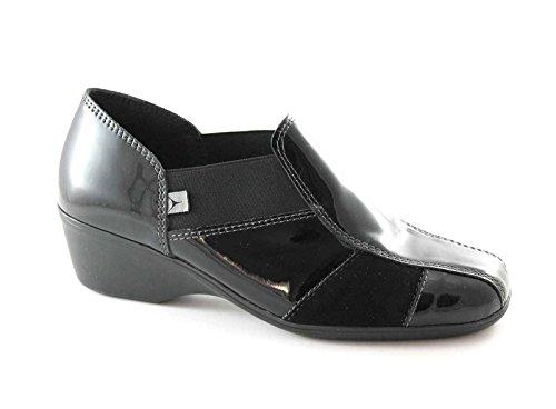 CINZIA SOFT 651 Les femmes noires chaussures confort type pantoufle zeppetta