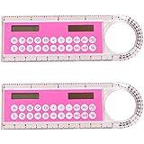STOBOK 2 unids Calculadora Electrónica 10 cm Regla Forma de Transportador para Niños Escuela Estudiantes Regalos