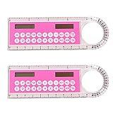 YeahiBaby 2pcs règle Calculatrice règle en Plastique arithmétique avec Calculatrice pour Enfants école Bureau Papeterie Cadeaux 10cm (Couleur aléatoire)