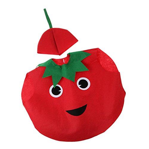 Kostüm Kinder Tomaten - MagiDeal Scherzt Einteiliges Apfelkostüm-Vliesstoff-Ausstattungs-Partei-Abendkleid - Tomate