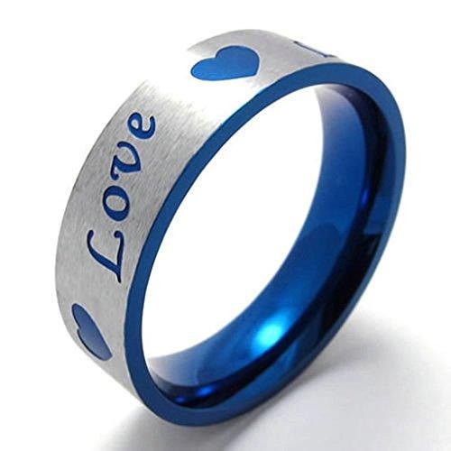 AMDXD Anello Formato 20 Amore Heartd Matrimonio Coppie 17 millimetri in Acciaio Inox Gioielli Anelli Blu Oro Argento Uomini
