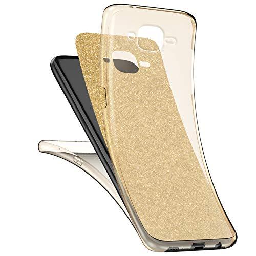 Surakey [Thin Fit 360 Funda para Samsung Galaxy J3 2016 Strass Brillo Bling Rhinestones Brillante Exact Slim de Protección Completa Y Protector de Pantalla para Samsung Galaxy J3 2016,Dorado