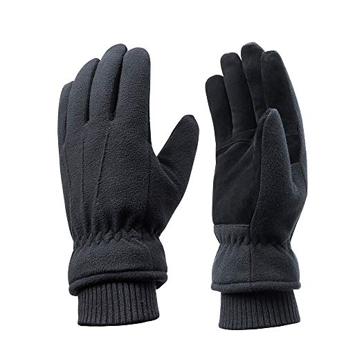 Winter Wasserdichte Handschuhe, Warmhalten sogar bei -20℃, Handfläche aus Wildleder + Rückseite aus Polar-Fleece + Futter aus 3M Thinsulate, leicht, warm, winddicht und wasserdicht (Black, XL) - Winter-polar-fleece