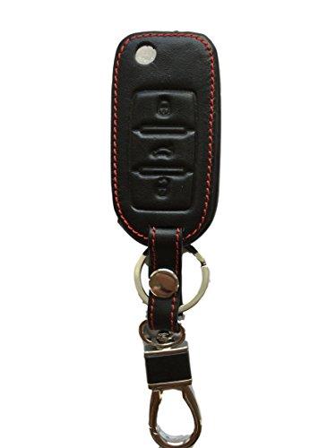 Schlüsseltasche Hülle Etui LEDER – Schutz & Schlüsselanhänger Ersatz - Schlüssel Cover – für Polo Golf 5 6 Jetta 5 EOS 1F Scirocco Fox NEW Bettle Touran Tiguan Touraeg 1 Sharan UP! Cross Caddy