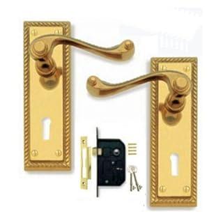 Georgian Polished Brass Door Handle Lever Lock Pack + 3 Lever Lock (2 Keys)
