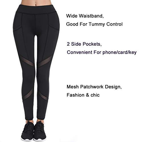 Joyshaper Sports Leggings with Pockets for Women Black Mesh Capri Trousers Yoga Pants Tights Gym Workout Fitness…