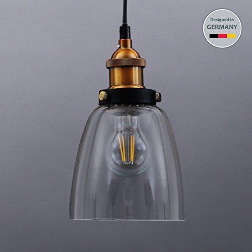 B.K.Licht LED Pendelleuchte 1-flammig Metall Glas Vintage Pendellampe Hängelampe IP20 (Küche Pendel-leuchten)